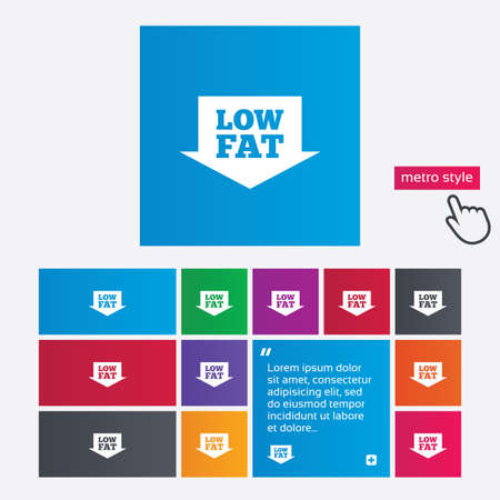 lowfat: Low fat sign icon. Salt, sugar food symbol with arrow. Metro style buttons. Modern interface website buttons with hand cursor pointer. Vector Illustration