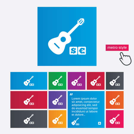 Acoustic guitar sign icon. Paid music symbol. Metro style buttons. Modern interface website buttons with hand cursor pointer. Vector