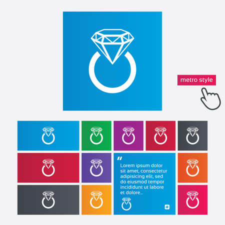Jewelry sign icon. Ring with diamond symbol. Metro style buttons. Modern interface website buttons with hand cursor pointer. Vector Vector