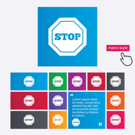 Traffic stop sign icon. Caution symbol. Metro style buttons. Modern interface website buttons with hand cursor pointer. Vector Vector