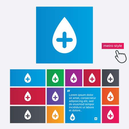 Water drop with plus sign icon. Softens water symbol. Metro style buttons. Modern interface website buttons with hand cursor pointer. Vector