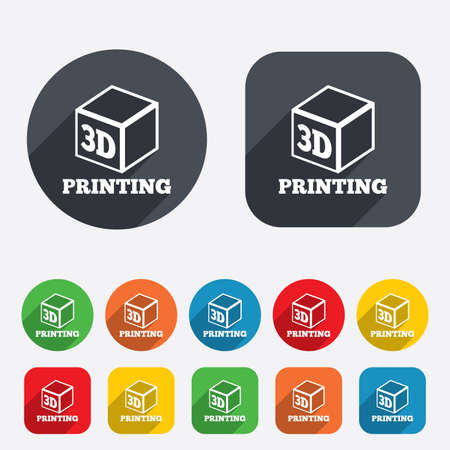 additive manufacturing: 3D Print sign icon. 3d cube Printing symbol. Additive manufacturing. Circles and rounded squares 12 buttons.