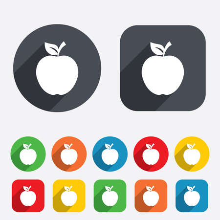 Apple sign icon. Fruit with leaf symbol. Circles and rounded squares 12 buttons. photo