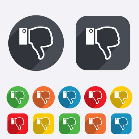 Dislike sign icon. Thumb down sign. Hand finger down symbol. Circles and rounded squares 12 buttons. photo