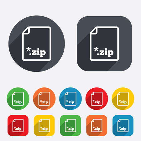 zipped: Archive file icon. Download compressed file button. ZIP zipped file extension symbol. Circles and rounded squares 12 buttons.