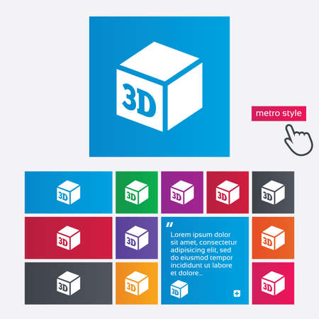 additive manufacturing: 3D Print sign icon. 3d cube Printing symbol. Additive manufacturing. Metro style buttons. Modern interface website buttons with hand cursor pointer.