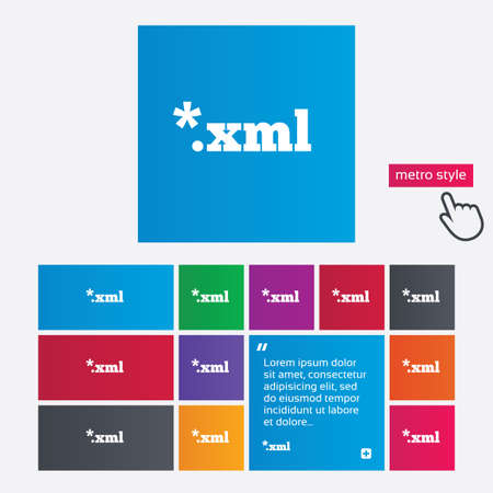 extensible: File document icon. Download XML button. XML file extension symbol. Metro style buttons. Modern interface website buttons with hand cursor pointer.