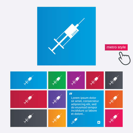 inoculation: Syringe sign icon. Medicine symbol. Metro style buttons. Modern interface website buttons with hand cursor pointer.