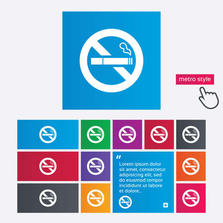 No Smoking sign icon. Quit smoking. Cigarette symbol. Metro style buttons. Modern interface website buttons with hand cursor pointer. photo