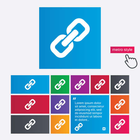 Link sign icon. Hyperlink chain symbol. Metro style buttons. Modern interface website buttons with hand cursor pointer. Stock Photo - 27567803