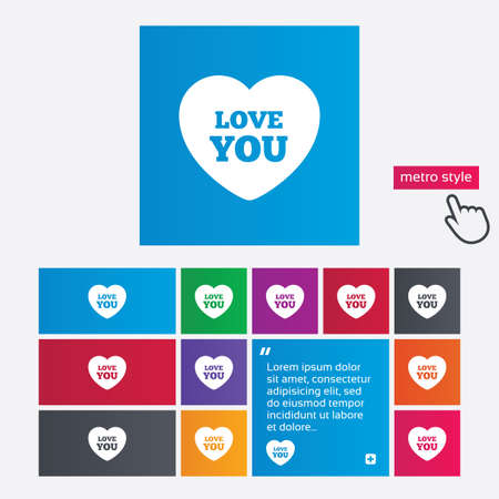 Heart sign icon. Love you symbol. Metro style buttons. Modern interface website buttons with hand cursor pointer. photo