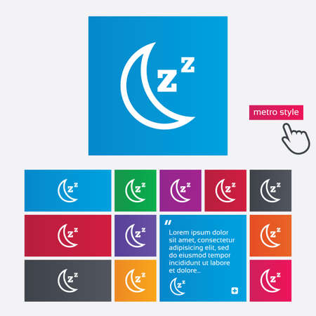 standby: Sleep sign icon. Moon with zzz button. Standby. Metro style buttons. Modern interface website buttons with hand cursor pointer.