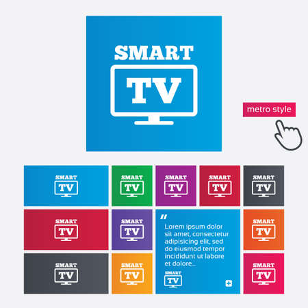 Widescreen Smart TV sign icon. Television set symbol. Metro style buttons. Modern interface website buttons with hand cursor pointer. photo