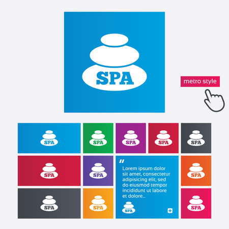 Spa sign icon. Spa stones symbol. Metro style buttons. Modern interface website buttons with hand cursor pointer. photo