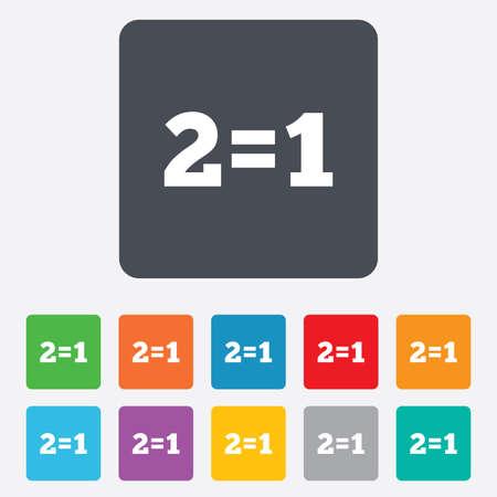 equals: Zwei f�r eins, Zeichen-Symbol. Nehmen Sie zwei Lohn f�r einen Verkauf-Taste. 2 gleich 1 ist. Abgerundete Quadrate 11 Tasten. Vektor