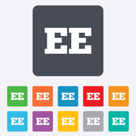 ee: Estonian language sign icon. EE translation symbol. Rounded squares 11 buttons. Vector