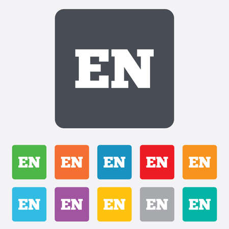 en: English language sign icon. EN translation symbol. Rounded squares 11 buttons. Vector