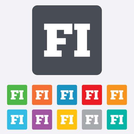 핀란드의: 핀란드어 언어 기호 아이콘입니다. FI 핀란드 번역 상징입니다. 모서리가 둥근 사각형 11 버튼. 벡터