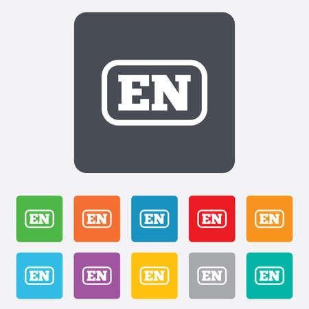 en: English language sign icon. EN translation symbol with frame. Rounded squares 11 buttons. Vector Illustration
