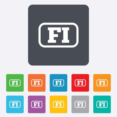 핀란드의: 핀란드어 언어 기호 아이콘입니다. 프레임 FI 핀란드 번역 상징입니다. 모서리가 둥근 사각형 11 버튼. 벡터 일러스트