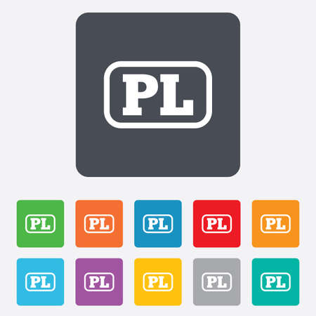 pl: Polish language sign icon. PL translation symbol with frame. Rounded squares 11 buttons. Vector