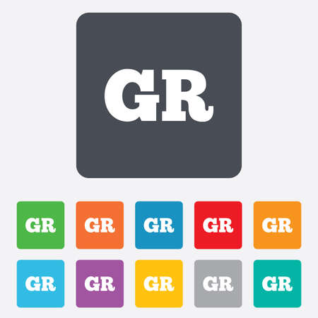 gr: Greek language sign icon. GR Greece translation symbol. Rounded squares 11 buttons. Vector