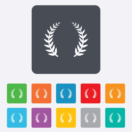 triumph: Laurel Wreath sign icon. Triumph symbol. Rounded squares 11 buttons. Vector Illustration