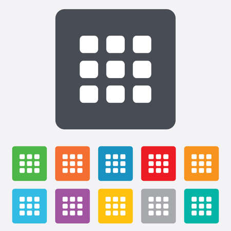 thumbnails: Thumbnails grid sign icon. Gallery view option symbol. Rounded squares 11 buttons. Vector Illustration
