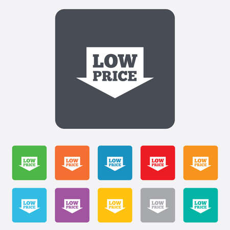 Low price arrow sign icon. Special offer symbol. Rounded squares 11 buttons. Vector