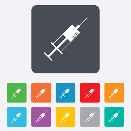 Syringe sign icon. Medicine symbol. Rounded squares 11 buttons. Vector Vector