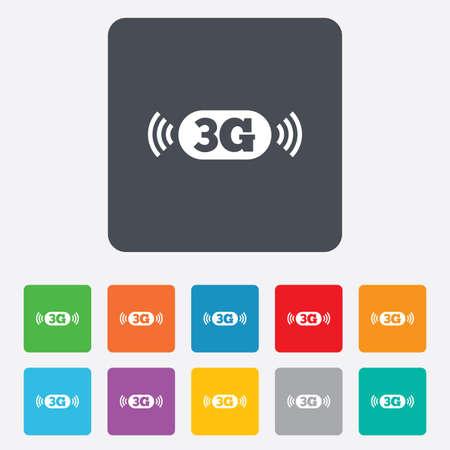 3g: Icono de se�al 3G. Telecomunicaciones m�vil s�mbolo tecnolog�a. Cuadrados redondeados 11 botones. Vector Vectores