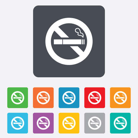 smoking cigarette: No Smoking sign icon. Quit smoking. Cigarette symbol. Rounded squares 11 buttons. Vector