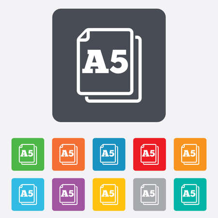 Paper size A5 standard icon. File document symbol. Rounded squares 11 buttons. Vector Stock Vector - 27677800