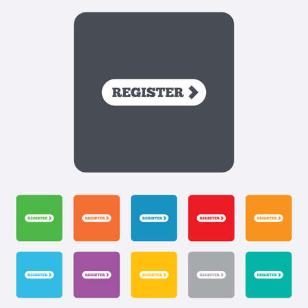registration mark: Register with arrow sign icon. Membership symbol. Website navigation. Rounded squares 11 buttons. Vector