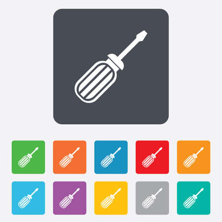 Screwdriver tool sign icon. Fix it symbol. Repair sign. Rounded squares 11 buttons. Vector Vector
