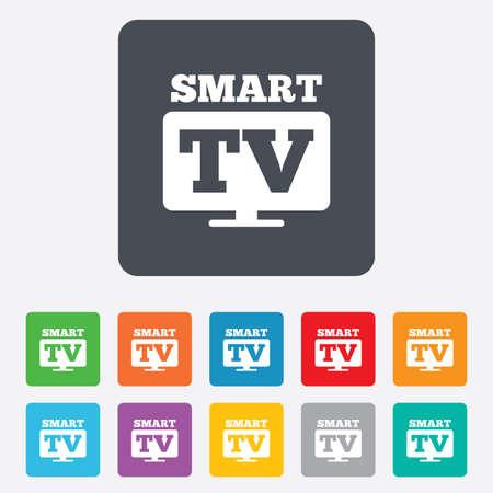 set de television: Icono de signo Widescreen Smart TV. S�mbolo televisor. Cuadrados redondeados 11 botones. Vector