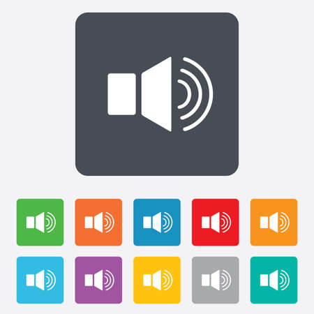 Speaker volume sign icon. Sound symbol. Rounded squares 11 buttons. Vector Vector