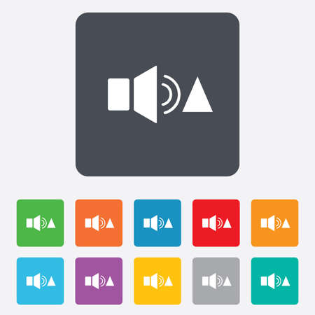Speaker volume louder sign icon. Sound symbol. Rounded squares 11 buttons. Vector Vector