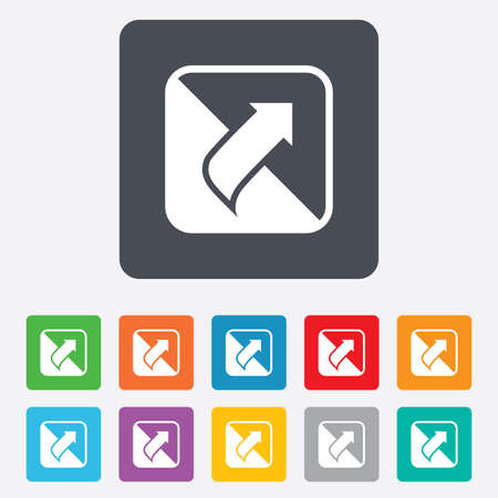 Turn page sign icon. Peel back the corner of the sheet symbol. Rounded squares 11 buttons. Vector Vector