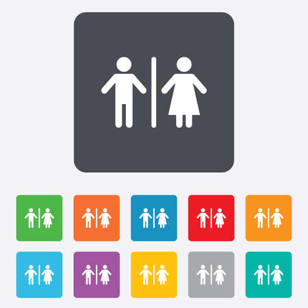 WC sign icon. Toilet symbol. Male and Female toilet. Rounded squares 11 buttons. Vector Vector