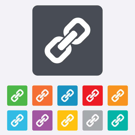 Link sign icon. Hyperlink chain symbol. Rounded squares 11 buttons. Vector Stock Vector - 27677947