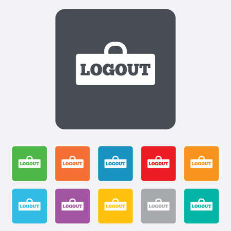 Logout sign icon. Sign out symbol. Lock icon. Rounded squares 11 buttons. Vector Vector
