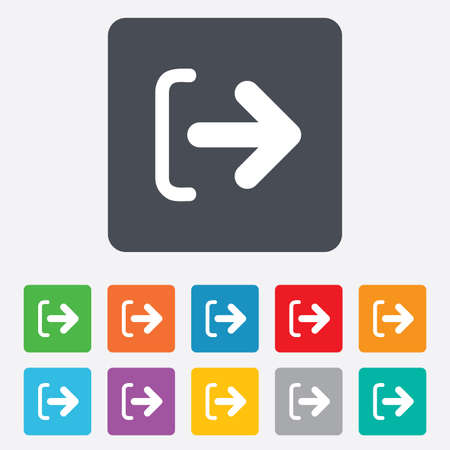 sign out: Logout sign icon. Sign out symbol. Arrow icon. Rounded squares 11 buttons. Vector