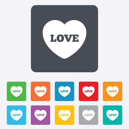 Heart sign icon. Love symbol. Rounded squares 11 buttons. Vector