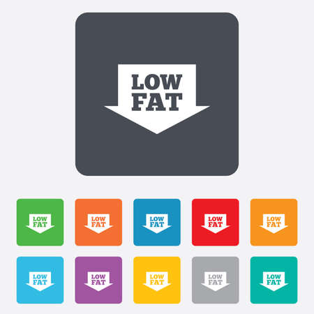 lowfat: Low fat sign icon. Salt, sugar food symbol with arrow. Rounded squares 11 buttons. Vector