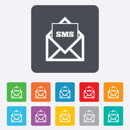 Mail icon. Envelope symbol. Message sms sign. Mail navigation button. Rounded squares 11 buttons. Vector Vector