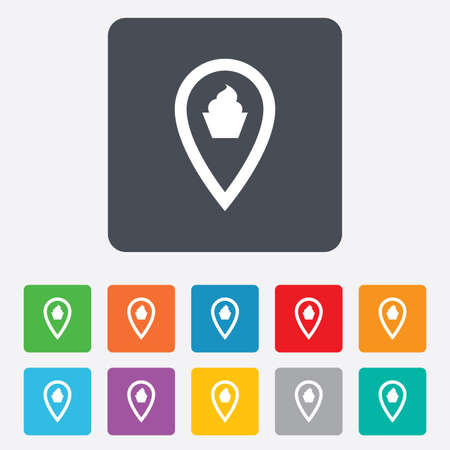Map pointer food sign icon. Restaurant location marker symbol. Rounded squares 11 buttons. Vector Vector