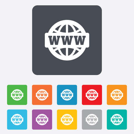 www at sign: WWW sign icon. World wide web symbol. Globe. Rounded squares 11 buttons. Vector