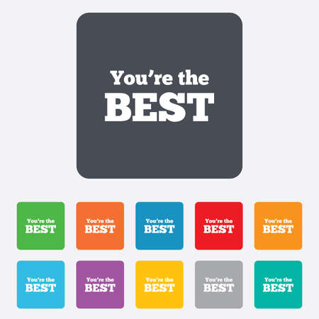 You are the best icon. Customer award symbol. Best buyer. Rounded squares 11 buttons. Vector Vector