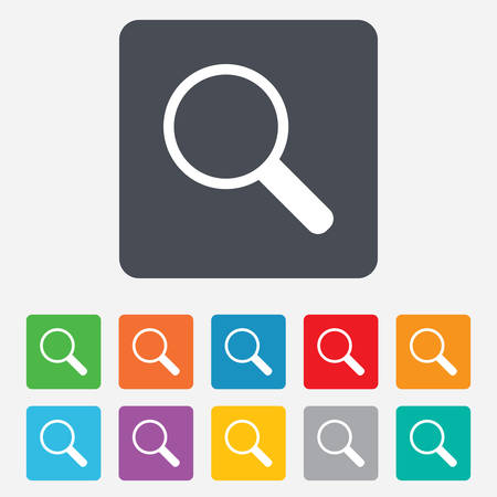 internet search: Magnifier glass sign icon. Zoom tool button. Navigation search symbol. Rounded squares 11 buttons. Vector